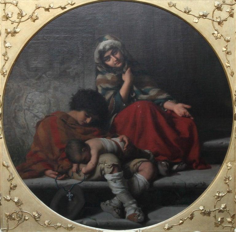 Roman Beggars - German 19th Century Art Pre-Raphaelite Portrait Oil Painting - Black Portrait Painting by Rudolf Lehmann
