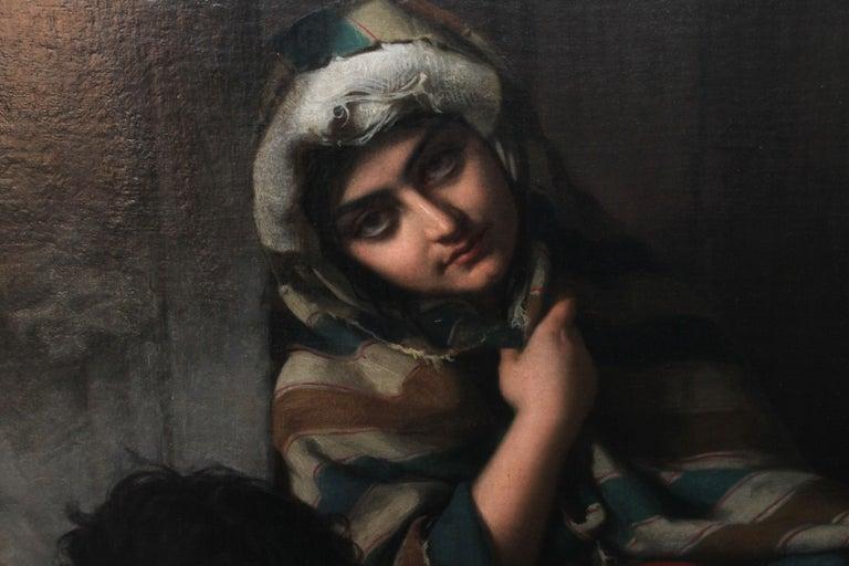 Roman Beggars - German 19th Century Art Pre-Raphaelite Portrait Oil Painting For Sale 1