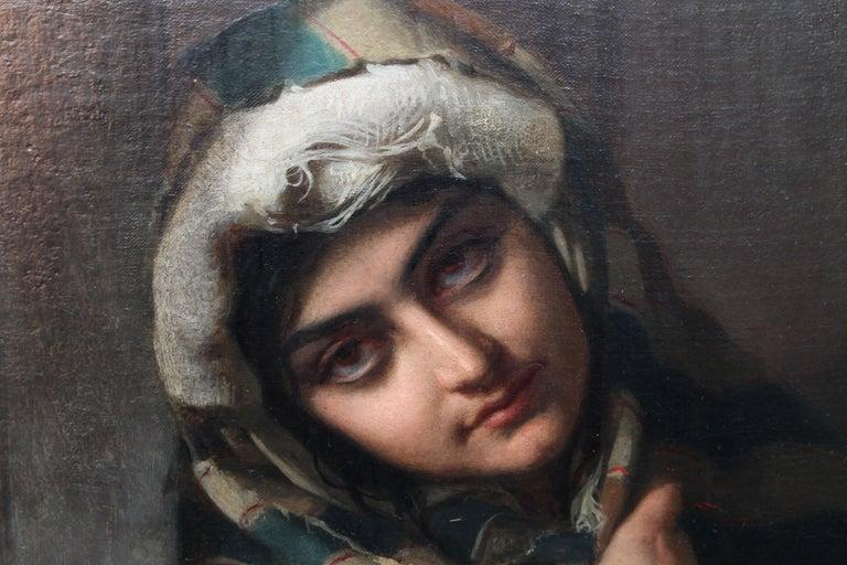Roman Beggars - German 19th Century Art Pre-Raphaelite Portrait Oil Painting For Sale 2