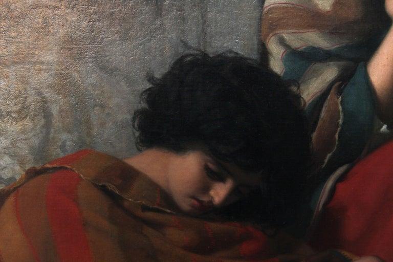 Roman Beggars - German 19th Century Art Pre-Raphaelite Portrait Oil Painting For Sale 3