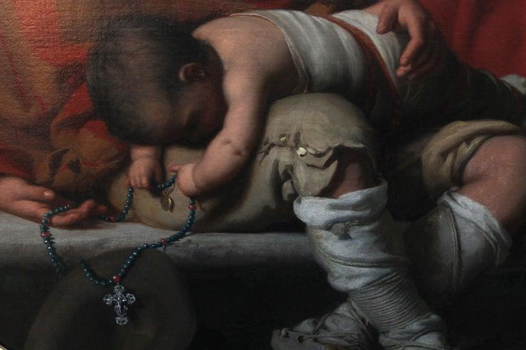 Roman Beggars - German 19th Century Art Pre-Raphaelite Portrait Oil Painting For Sale 4