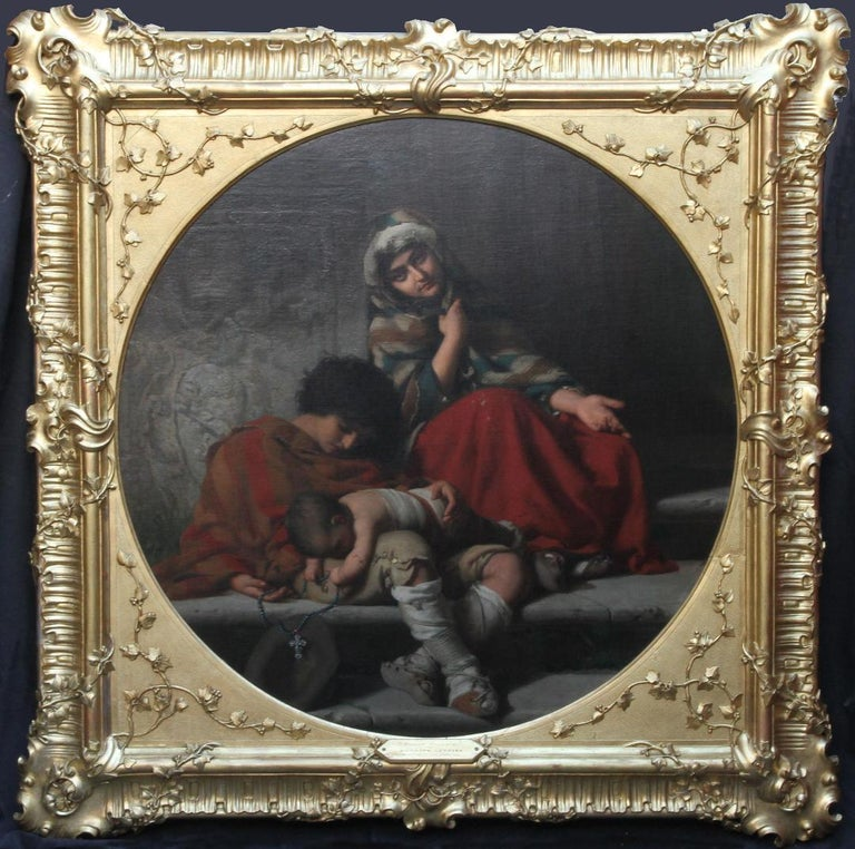 Roman Beggars - German 19th Century Art Pre-Raphaelite Portrait Oil Painting For Sale 10
