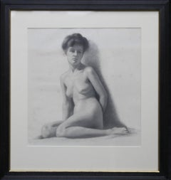 Nude Female - Italian British art Edwardian nude portrait drawing female artist