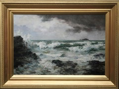 Trevone Bay Cornwall  - British Victorian art exhibited seascape oil painting