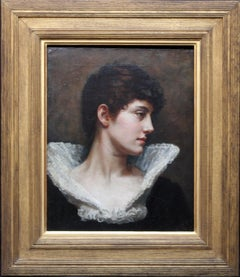 Portrait of a Lady in a Lace Collar - British Victorian art oil painting