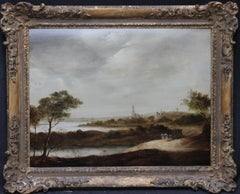 Carriage in Landscape outside Rhenen - Dutch 17thC Old Master oil painting panel