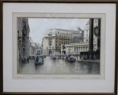 The City of London - British 40's art Threadneedle Street Bank Stock Exchange