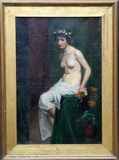 Pre-Raphaelite Beauty - Victorian art nude oil portrait - British female artist
