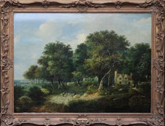 Landscape with Cottages and Sheep - British Victorian 1850's art oil painting