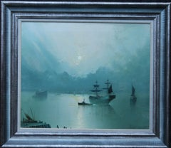 Reflections on the Mersey, Liverpool - British art 1917 marine oil painting