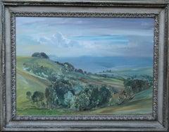Trow Hill Sidmouth Devon 1927 - British art landscape oil painting female artist
