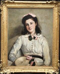 Portrait of an Edwardian Beauty - British art 1904 oil painting female artist