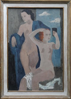 Two Nudes - British 1950's modernist art female nude portrait oil painting