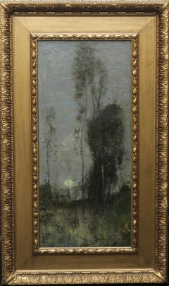 Silver Birches at Sunset- Scottish 19thC art Glasgow Boy landscape oil painting