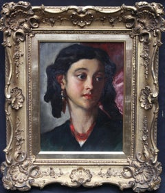 La Senorita - Scottish art Victorian genre portrait oil painting of young woman