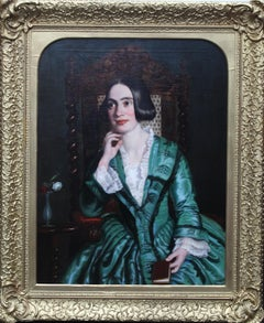 Portrait of a Young Lady in a Green Dress - British Victorian art oil painting