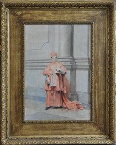 Catholic Cardinal - Italian artist 19thC religious art painting reading Rome