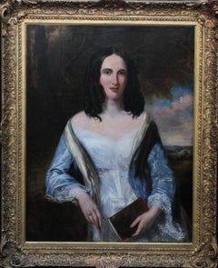 Portrait of Lady with Notebook - British Victorian female portrait oil painting