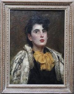 Portrait of a lady in a Cloak - British 1896 Victorian art portrait oil painting