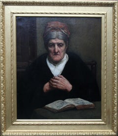 The Wisdom of Years - British 1900 Victorian art female portrait oil painting