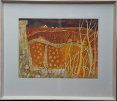View Across Farmland - Scottish 20thC Expressionist art landscape painting gold