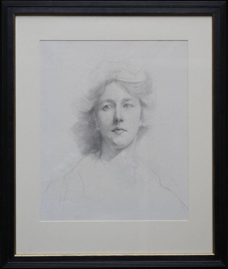 Self Portrait - British Italian art Edwardian pencil drawing female artist - Art by Estella Canziani