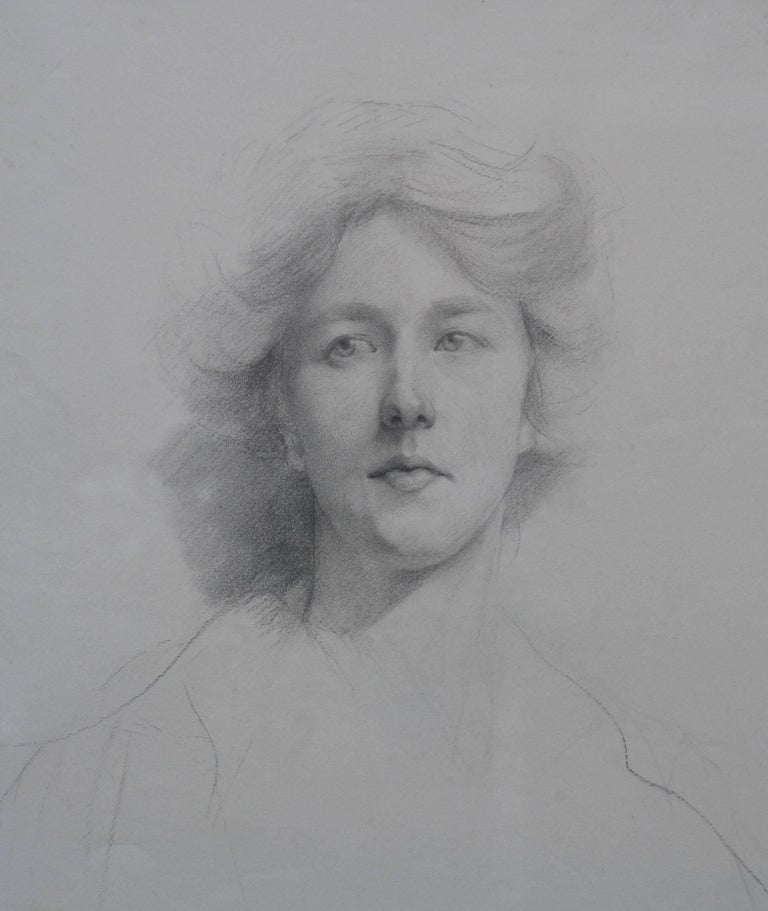 Self Portrait - British Italian art Edwardian pencil drawing female artist - Pre-Raphaelite Art by Estella Canziani