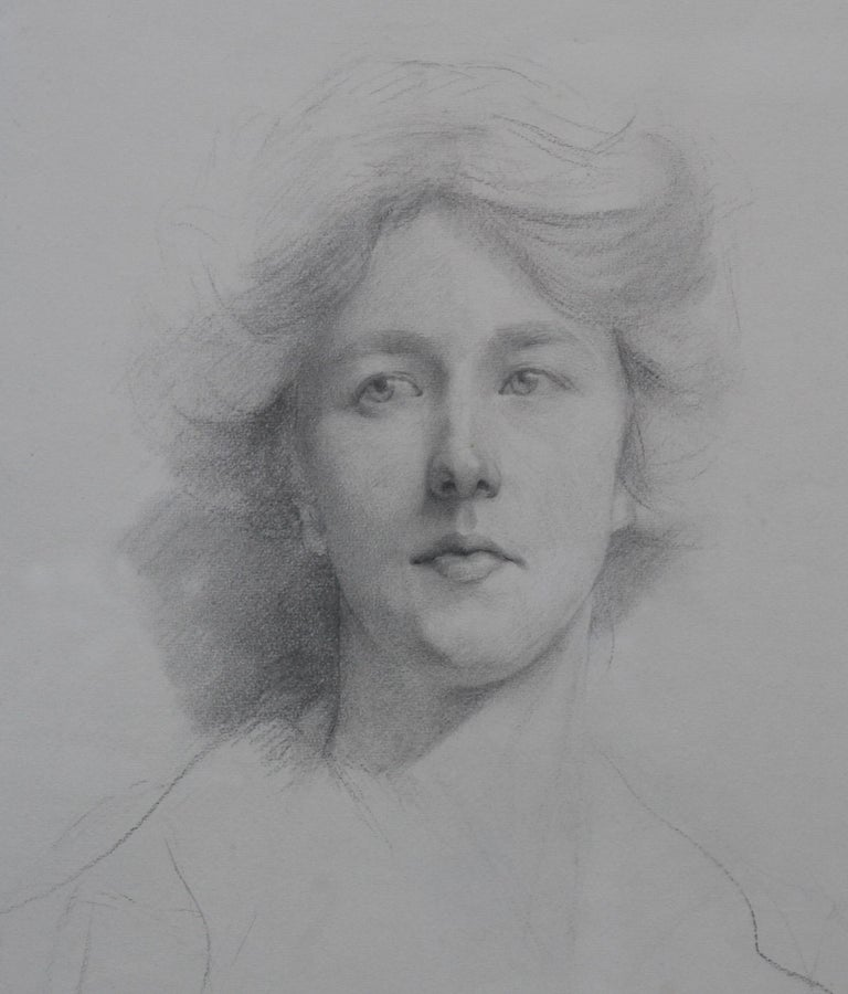 This is a fine detailed and superbly executed Edwardian drawing by Estella Canziani which dates to circa 1911.  Executed by one of the leading artists of the day it is a very striking and fascinating self portrait by one of the most famous female