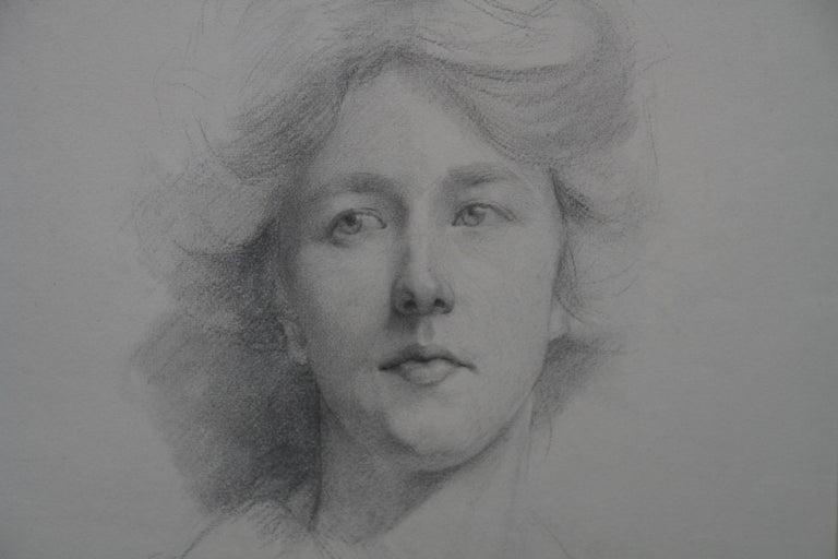 Self Portrait - British Italian art Edwardian pencil drawing female artist For Sale 1
