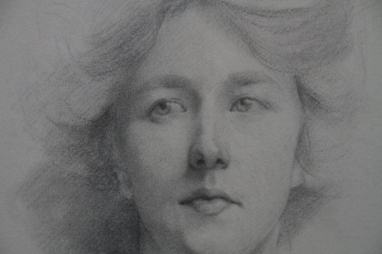 Self Portrait - British Italian art Edwardian pencil drawing female artist For Sale 2
