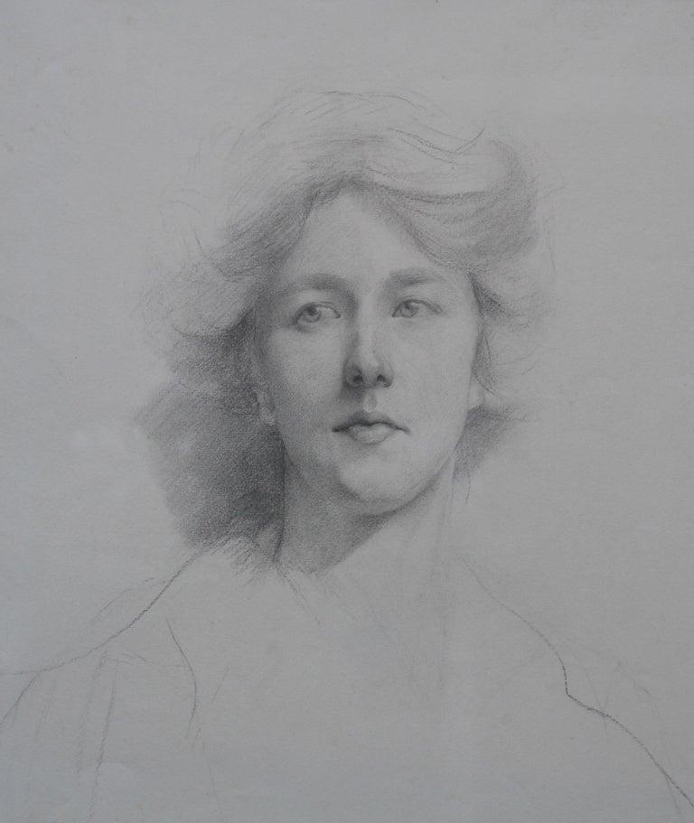 Self Portrait - British Italian art Edwardian pencil drawing female artist For Sale 5