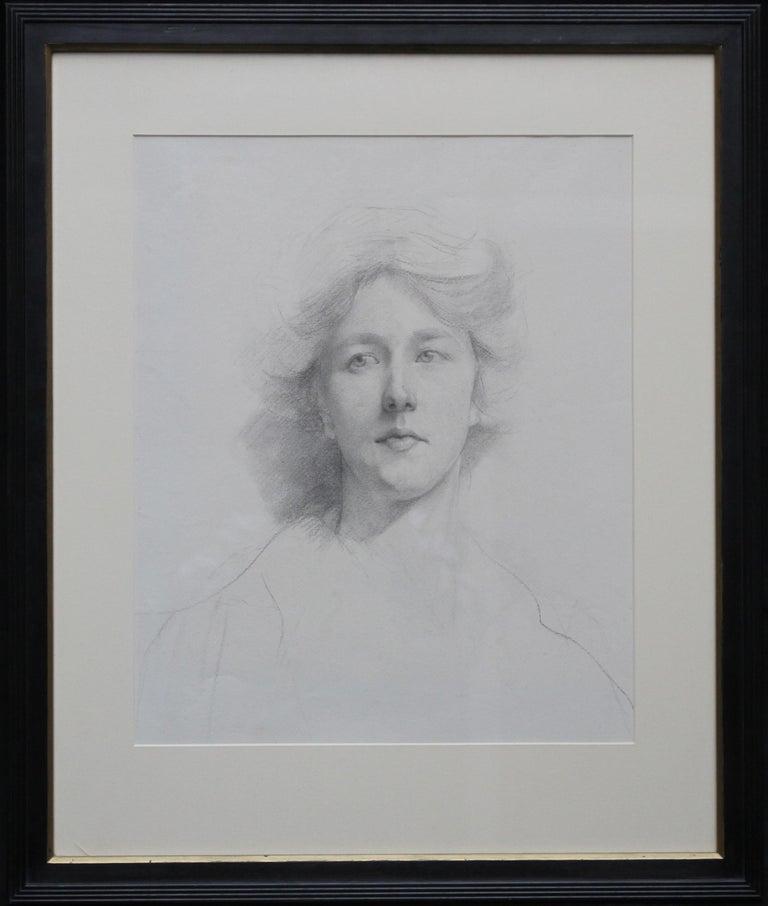 Self Portrait - British Italian art Edwardian pencil drawing female artist For Sale 6