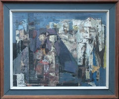 Abstract - British 50's exhibited figurative abstract oil painting