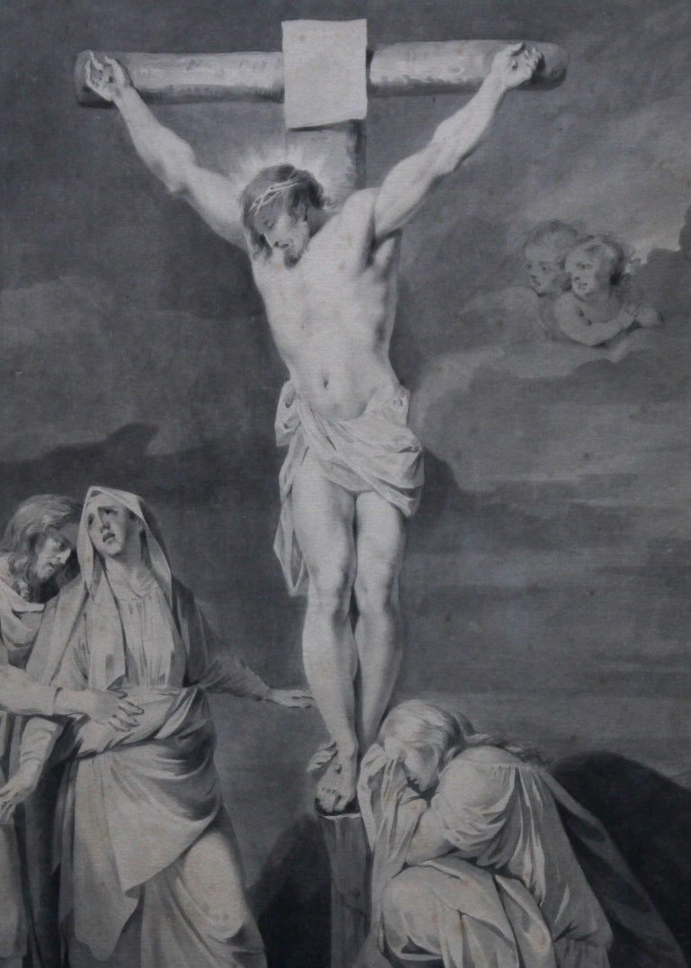The Crucifixion of Jesus - Dutch Old Master religious painting 18th century art  For Sale 5