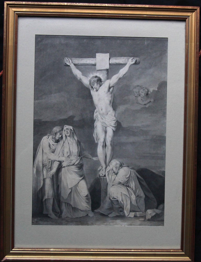 The Crucifixion of Jesus - Dutch Old Master religious painting 18th century art  For Sale 6