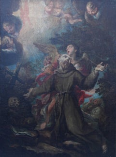 The Vision of St Francis - Old Master 17thC Dutch/Spanish religious oil painting