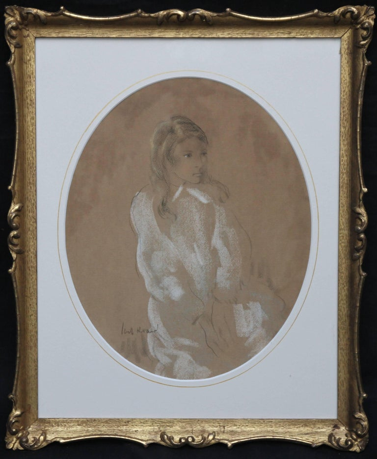 A fine pastel and chalk portrait depitcting a three quarter length portrait of a lady by Jacob Kramer. Painted circa 1920 it is quite lively and fluid  His portaits have strong composition and bold lines creating an almost stylised likeness.  It is