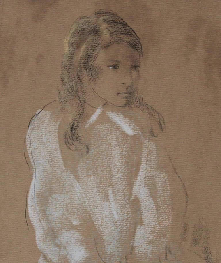 Portrait of a Lady -  1920's Art Deco chalk pastel drawing  For Sale 1