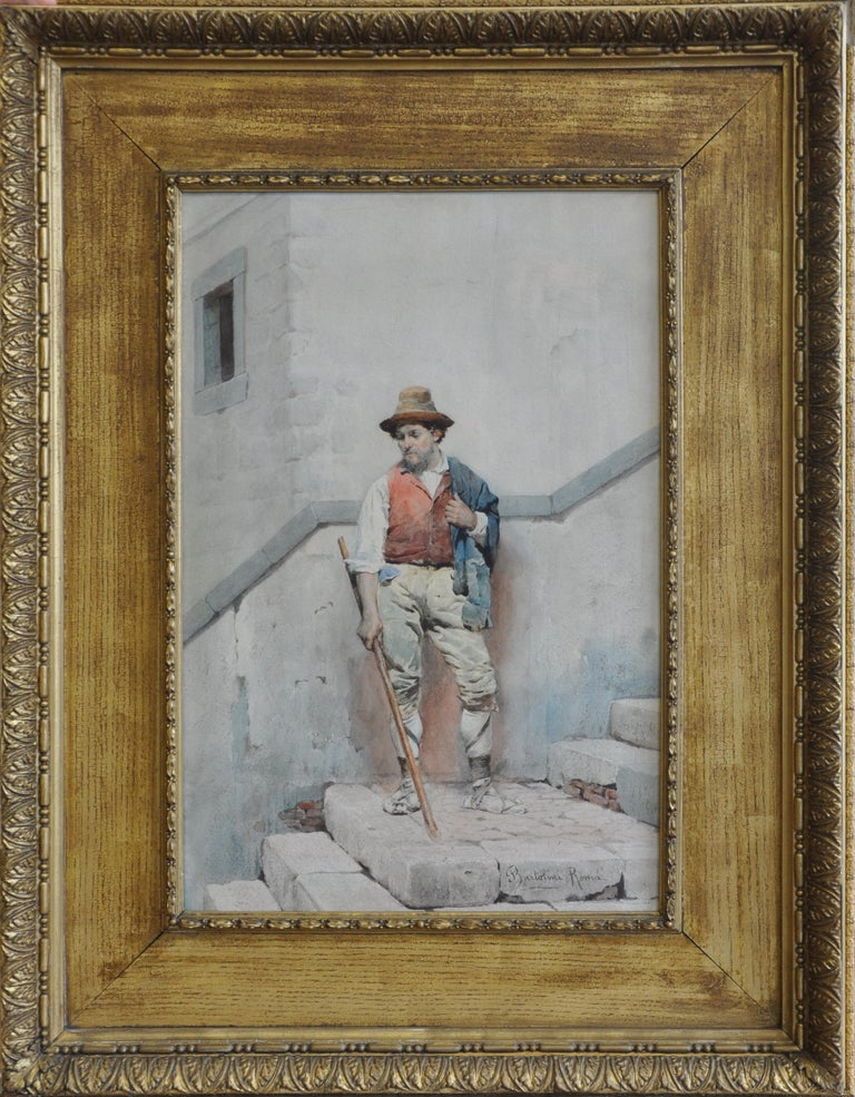 The Peasant - Italian Roma male portrait 19th century art watercolour painting For Sale 3