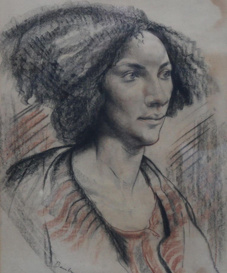 A dramatic head and shoulders portrait of a lady in colored chalks attributed to noted British artist Edward Bainbridge Copnall. This is just a stunning artwork which dates to circa 1940. Signed Bainbridge Copnall.  Provenance. Midlands