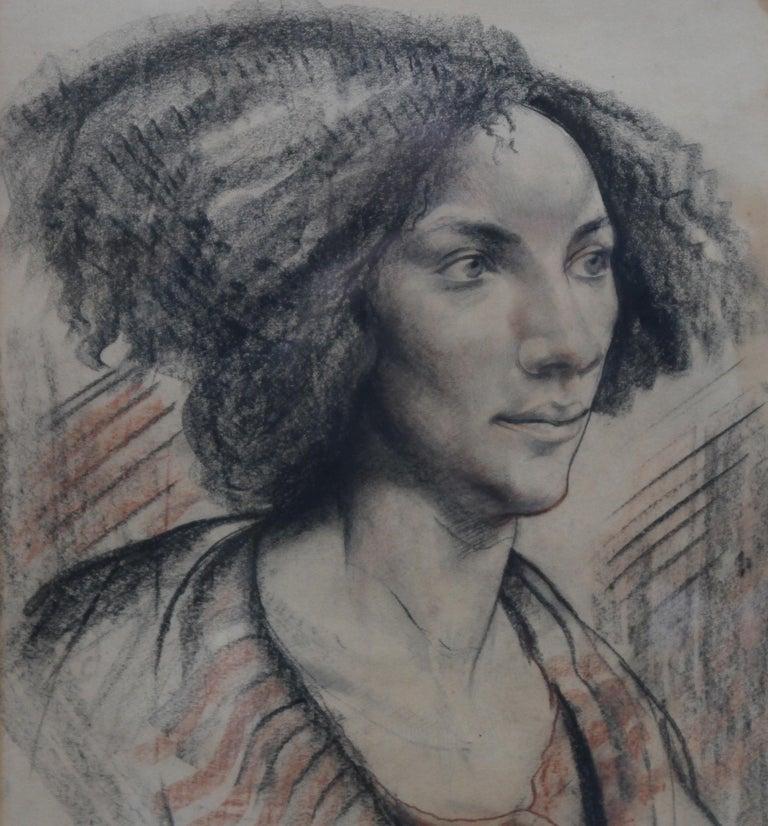 Portrait of a Lady - British art Post Impressionist 40s drawing female portrait  For Sale 1