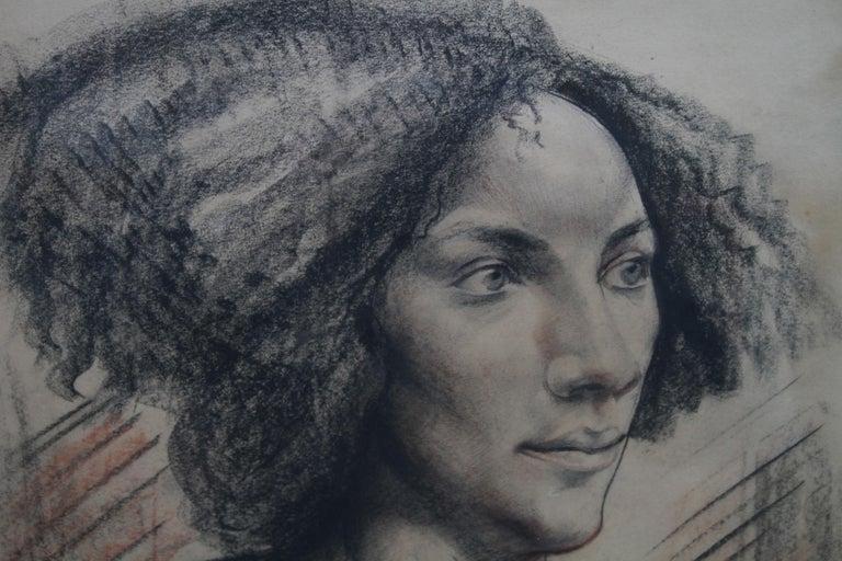 Portrait of a Lady - British art Post Impressionist 40s drawing female portrait  For Sale 2