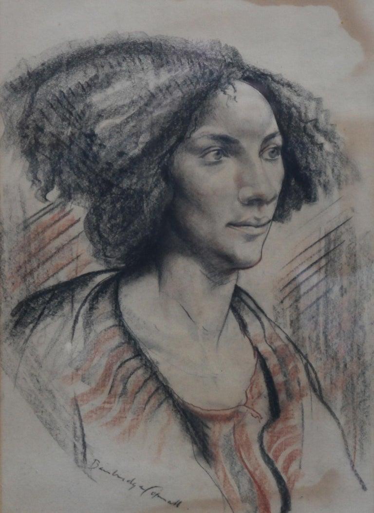 Portrait of a Lady - British art Post Impressionist 40s drawing female portrait  For Sale 4