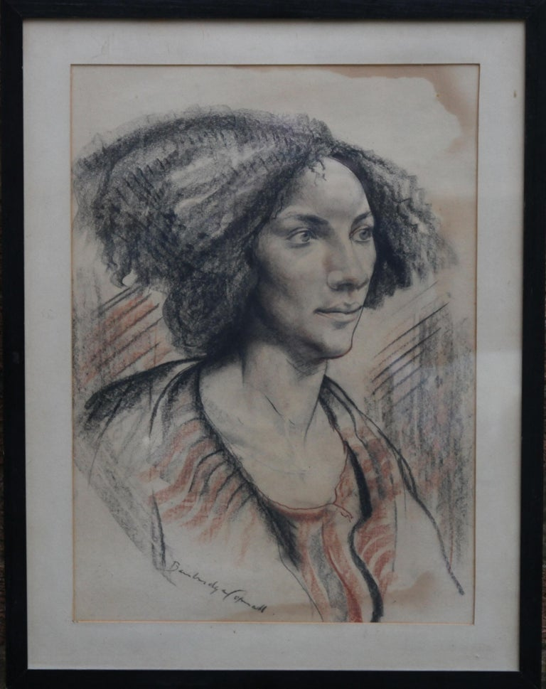 Portrait of a Lady - British art Post Impressionist 40s drawing female portrait  For Sale 5