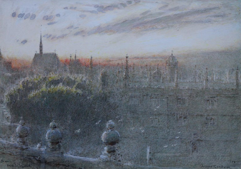 Sunset Over Oxford - British art watercolour cityscape univerisity colleges - Art by Albert Goodwin