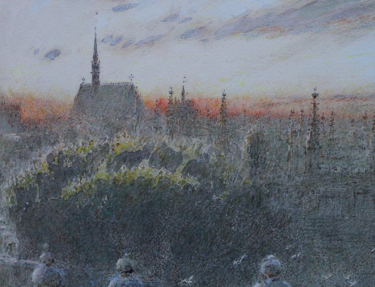 Sunset Over Oxford - British art watercolour cityscape univerisity colleges - Impressionist Art by Albert Goodwin