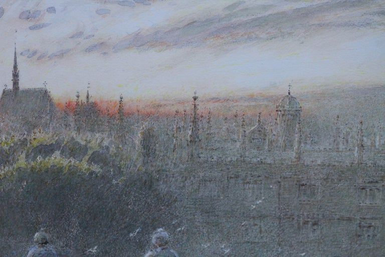 Sunset Over Oxford - British art watercolour cityscape univerisity colleges - Gray Landscape Art by Albert Goodwin