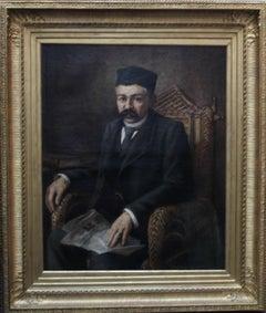 Man Reading Newspaper - Orientalist art 19th century portrait oil painting