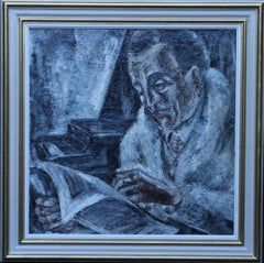 Self Portrait Reading - Dutch 1920's art interior male portrait oil painting