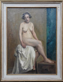 Seated Female Nude in Art Class - British Victorian art portrait oil painting